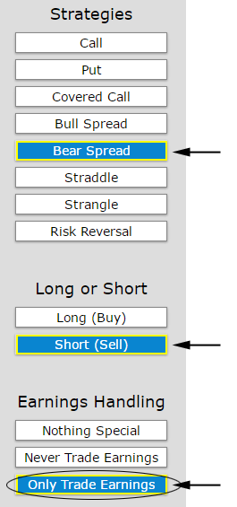 put spread earnings only set up